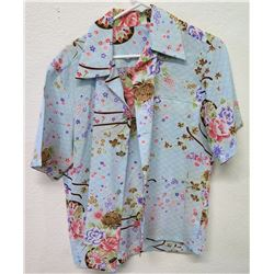 Vintage Shirt - Lt Blue Asian Inspired Floral Print, No Tags, Size Unknown