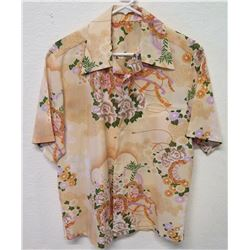 Vintage Shirt - Tan Asian Inspired Floral Print, No Tags, Size Unknown