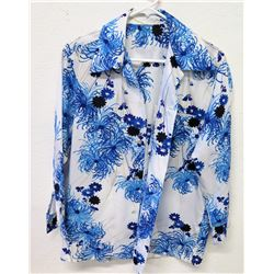 Vintage Shirt - Long Sleeve Blue White Floral Print, No Tags, Size Unknown