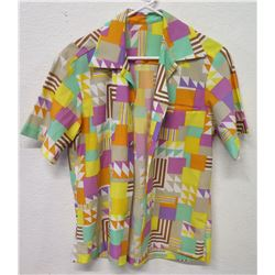 Vintage Shirt - Bright Abstract Geometric Print, No Tags, Size Unknown