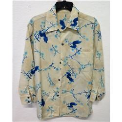 Vintage Shirt - Long Sleeve Blue & White Asian Floral Print, No Tags, Size Unknown