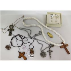 Misc Religious Necklaces & Pendants & Boxed Sterling Silver Earrings