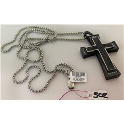 Men's Stainless Steel Necklace Black Cross Pendant Retail $449, New w/ Tag