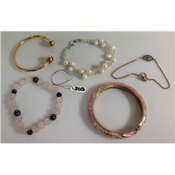 Qty 5 Misc Bracelets - Silver Pearl, Pink Enamel, Beaded, Bangle & Chain