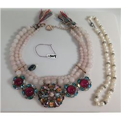 Betsey Johnson Pearl & Stone Ornate Necklace & Pearl w/ Bead Choker