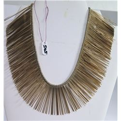 Gold Tone Multi Fringe Chain Necklace