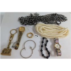 Seiko & Gian Pini Quartz Watch, Pearl Necklace, Hoop Earrings, etc