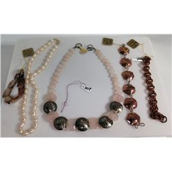 Qty 3 Copper & SS Bracelets, Rose Quartz Nickle Steel Necklace, Pearl Choker