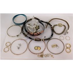 Qty 5 Bangle Bracelets, Bead Necklace & Bracelet, Misc Earrings & Charm