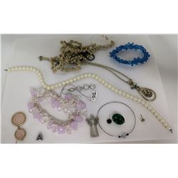 Pearl Necklace, 2 Misc Necklaces, 2 Bead Bracelets, Hope Angel Charm, etc