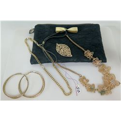 Qty 2 Necklaces, Leaf Pendant, Gold Tone Hoop Earrings, Victoria's Secret Bag