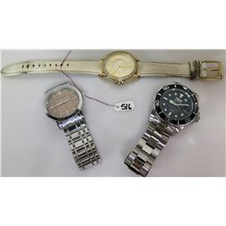Qty 3 Watches - Invicta Pro Diver, Burberry & Michael Kors w/ Leather Strap