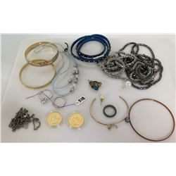 Qty 5 Bangle Bracelets, Misc Necklaces, 4 Rings & 2 Quarters in Plastic