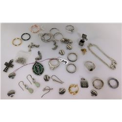 Qty 11 Misc Rings, 2 Pendants, Misc Charms, Earrings