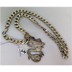 Rope Chain w/ Large Dragon Pendant (Chained Stamped 925 Sterling, Italy)