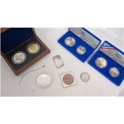 Qty 9 Coins - 3 Boxed Sets - Yen, Hawaiian Coin, Vegas & 1 Troy Oz Silver