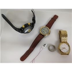 Qty 3 Watches - Nixon, Seiko, Digital & Silver Black Weave Ring
