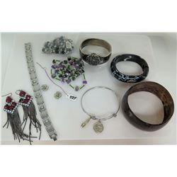 Watch, Silver Tone w/ Purple Stone Fringed Earrings, Misc Bracelets
