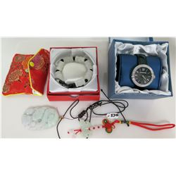 Swarovski Crystal Watch in Box, Asian Bead Bracelet in Box, Stone Pendant