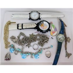 Geneva Watch, 2 Other Watches, 2 Rings, Misc Charm Bracelets