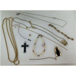 Qty 3 Necklaces, 2 Chain Bracelets, 1 Pearl Bracelet, 2 Enamel Pendants