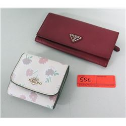 Coach Pink Floral Wallet & Red Prada Milano Wallet