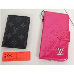 Louis Vuitton Black Monogram Wallet & Pink Monogram Phone Case (Authenticity Unverified)