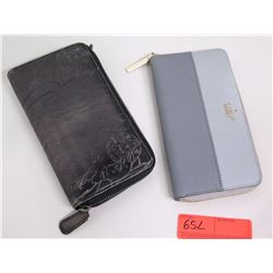 Kate Spade Zip-Up Wallet & Black Etched Zip-Up Leather Wallet