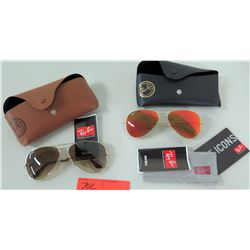 2 Pairs New Ray Ban Sunglasses - Dark & Rose Tinted w/ Carrying Cases