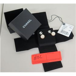 Chanel Signature Logo Pearl Earrings w/ Tags & Box