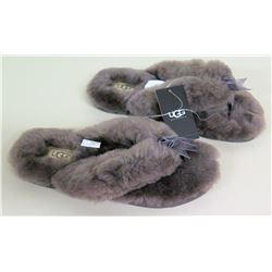 New UGG Furry Slippers Mules 'Fluff Flip Flop II' Size 7, Retail $80