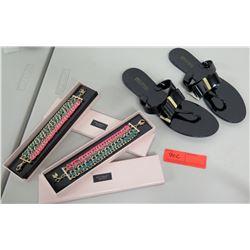 New Black Michael Kors Sandals (sz 8), 2 New Victoria's Secret Bracelets (Pink/Green/Gold)