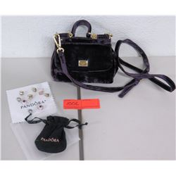 New Purple Dolce & Gabanna Shoulder Bag & 9 Pandora Charms w/ Pouch