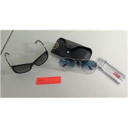 Pair Versace Sunglasses (has faint spots) & Wire-Rim Ray Ban Sunglasses w/ Case