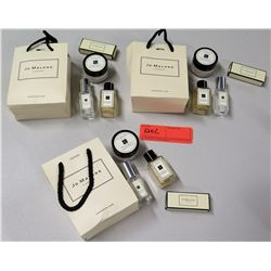 Qty 3 Bags of Jo Malone Sample Packs - English Pear Cologne, Body Gel & Crème