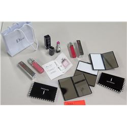 New Christian Dior Lip Gloss (qty 2), Lipstick, Miss Dior Sample & 2 Sephora Mirrored Compacts