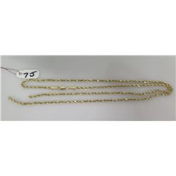 "Gold Rope Chain Necklace, Stamped 14K, 4.4 grams,  Broken/Separated, Approx. 22"" Length"