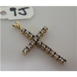 Cross Pendant w/ Channel Set Stones (Diamonds?) markings unclear - see pictures