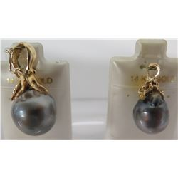 2 Black Tahitian Pearl Pendants (2 Sizes),14K Gold Setting