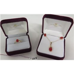Red Coral Set: Ring, Pendant w/Chain, Earrings, Marked 14K Gold