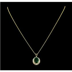 3.88 ctw Emerald and Diamond Pendant With Chain - 14KT Yellow Gold