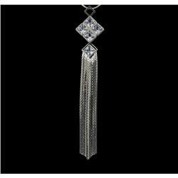 Crystal Square Pendant Tassel Necklace - Rhodium Plated