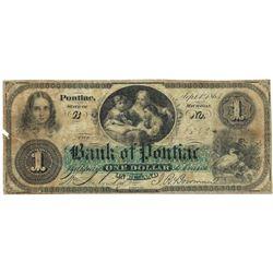 1863 $1 Bank of Pontiac, MI Obsolete Bank Note - Scarce