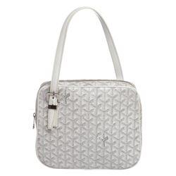 Goyard White Canvas Leather Goyardine Yona PM Tote Bag