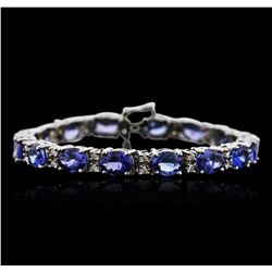 14KT White Gold 22.40 ctw Tanzanite and Diamond Bracelet