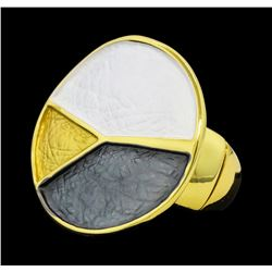 Tri Color Hand Painted Round Ring - Gold Plated