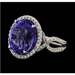 14.75 ctw Tanzanite and Diamond Ring - 14KT White Gold