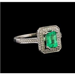 1.00 ctw Emerald and Diamond Ring - 14KT White Gold