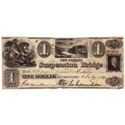 1841 $1 The Niagara Suspension Bridge Obsolete Bank Note