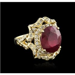14KT Yellow Gold 8.01 ctw Ruby and Diamond Ring